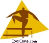 Vector Clip Art image  of a running the hurdles