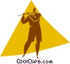 Vector Clip Art image  of a person playing the flute