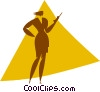 Vector Clipart graphic  of a woman on a cell phone