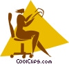 Vector Clipart graphic  of a businesswoman sitting in a