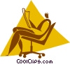 man reading a newspaper in a chair Vector Clipart illustration