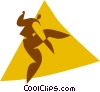 Vector Clip Art graphic  of a disco dancers