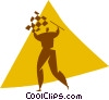 Vector Clipart graphic  of a person with a checkered flag