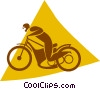Vector Clip Art image  of a person riding a motorcycle