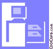 Vector Clip Art image  of a office desk