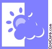 clouds with sunshine Vector Clipart graphic