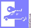 Vector Clip Art image  of a car with car key