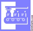 Vector Clip Art graphic  of an assembly line