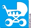 Vector Clipart image  of a baby stroller