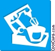 Vector Clipart illustration  of a electric mixer and bowl