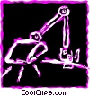 Vector Clip Art graphic  of a Steam Shovels and Diggers