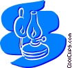 Vector Clip Art image  of a Oil Lamps