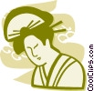 Vector Clip Art graphic  of a Geishas