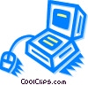 Vector Clipart graphic  of a computer desktop system