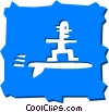 Vector Clipart picture  of a Surfing