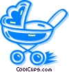 Vector Clipart graphic  of a baby carriage
