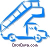 truck with stairs used at the airport Vector Clipart illustration