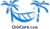 hammock between two palm trees Vector Clip Art image