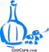bottle of wine with grapes Vector Clipart picture
