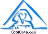 Egyptian pyramid with a Sphinx Vector Clip Art graphic