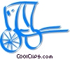 Vector Clip Art graphic  of a Japanese rickshaw