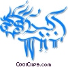 Vector Clipart picture  of a Chinese paper dragon