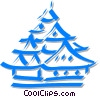 Vector Clipart image  of a pagoda/temple