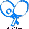 Vector Clipart graphic  of a ping pong paddles