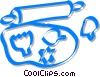 rolling pin and cookie cutters Vector Clip Art picture