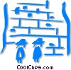 Vector Clip Art image  of a people praying at the Wailing Wall