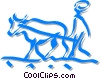 Vector Clip Art graphic  of a farmer plowing a field
