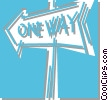 one way sign Vector Clipart illustration