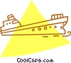 Vector Clip Art image  of a cargo ship