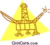 Vector Clipart illustration  of a off shore oil well