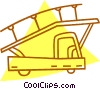Vector Clipart picture  of an airport truck with stairs