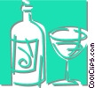 Vector Clipart image  of a wine bottle and glass