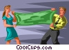 Vector Clip Art picture  of a man/woman stretching a dollar