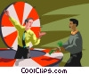 Vector Clipart graphic  of a person gambling on the
