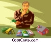 Vector Clipart picture  of a man pondering his investment