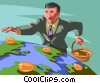 man putting global golden eggs in a basket Vector Clipart graphic