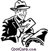 Vector Clip Art graphic  of a man mailing a letter