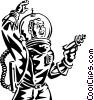 Vector Clipart graphic  of an astronaut with ray gun science