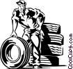 Vector Clip Art graphic  of an Auto mechanic with tires