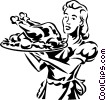 woman serving a roast chicken or turkey Vector Clipart illustration
