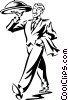 Vector Clip Art image  of a waiter with a serving tray