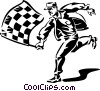 man with a checkered flag Vector Clipart picture