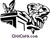 businessman relaxing at his desk Vector Clip Art graphic