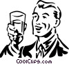 Vector Clipart illustration  of a man holding a glass