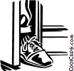 Vector Clip Art graphic  of a foot in the door