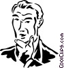 Vector Clip Art image  of a man thinking